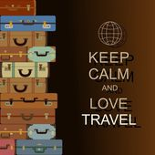 "Vector background with suitcases and slogan ""Keep calm and love travel"" — Cтоковый вектор"
