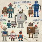 Seamless retro Robot pattern — Stock Vector