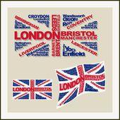 UK flag of words major cities — Stock Vector