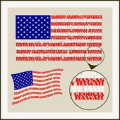 U.S. flag of words state names — Stock Vector