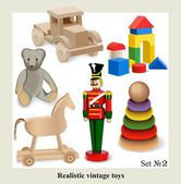 Realistic vintage toys for kids — ストックベクタ