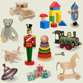 Background of realistic vintage toys — Stock Vector