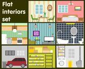 Estabelecidos interiores planas ícones decorativos — Vetorial Stock