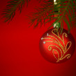 Christmas tree with golden bauble isolated on white — Stock Photo
