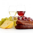Wine and grapes isolated on white with cheese and sausage — Stock Photo