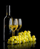 Bottle of wine and a bunch of white grapes — Stock Photo