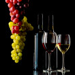 Red and white wine with grapes — Stock Photo