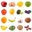 Set of fruits and vegetables isolated on white — Stock Photo
