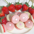 Strawberry french macarons with heart — Stock Photo #40430735