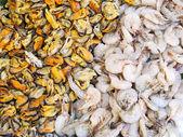 Gamberi e cozze fresche — Foto Stock