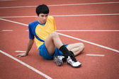 Asian man warm up before exercise — Stock Photo