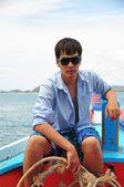 Asian man portrait in fisherman looks — Stock Photo