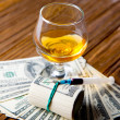 Alcohol, drugs and money — Stock Photo