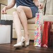 Girl with purchases. Woman with packages from the store. — Stock Photo #37345517