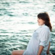 Stock Photo: Pregnant womon sea. Water treatments for pregnant women