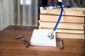 Phonendoscope. medical records, books — Stock Photo