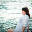Stock Photo: Pregnant womon sea
