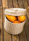 Fresh tangerines on a wooden table — Foto Stock
