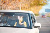 Woman driving a car — Stock Photo
