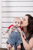 Picture of happy mother with adorable baby.  — Stock Photo