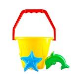 Baby toy bucket, shovel on white background — Stock Photo #48184555