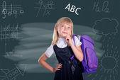 Portrait of beautiful schoolgirl, School and Education — Foto Stock