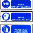 Stock Photo: Blue safety signs borad