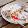 Strawberry cake in white dish on table — Stock Photo