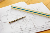 Architecture drawings with pencil and ruler — Stock Photo