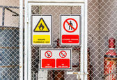 Safety signs broad — Stock Photo