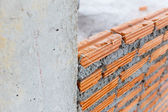 Brick wall construction for house building — Stock fotografie