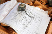 Architecture drawings with ruler — Stock Photo