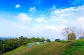 Camping tent on mountain with blue sky — Stock Photo
