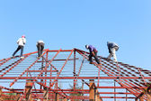 Labor working in construction site for roof prepare — Stock Photo