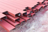 Steel roof for home construction job — Stock Photo