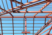 Roof steel construction for new house — Stok fotoğraf