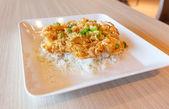 Thai Egg Crispy Omelet rice — Stock Photo