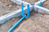 Foundation with pipe for house building — Stock Photo