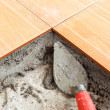 Floor tile installation for house building — Stock Photo