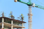 Construction Site with worker on blue sky  — Stock Photo