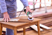 Carpenter plane wood for house construction — Stock Photo