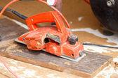 Carpenter plane wood for house construction  — Stock Photo