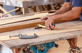 Carpenter use saw cut wood formake new furniture — Photo