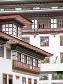 Traditional architecture of Bhutanese houses, Thimphu - Bhutan — Stock Photo