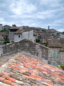 View over the rooftops of the ancient city of Balazuc in France — Stock Photo