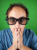 Thirty year old man with 3d glasses in shock watching a movie — Stock Photo