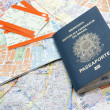 Stock Photo: Passport, maps, and tickets