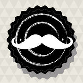 Hipster mustache sticker for retro design — Stock Vector
