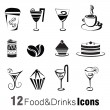 Foods and drinks icons — Stock Vector