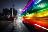 Speeding bus, blurred motion — Stock Photo